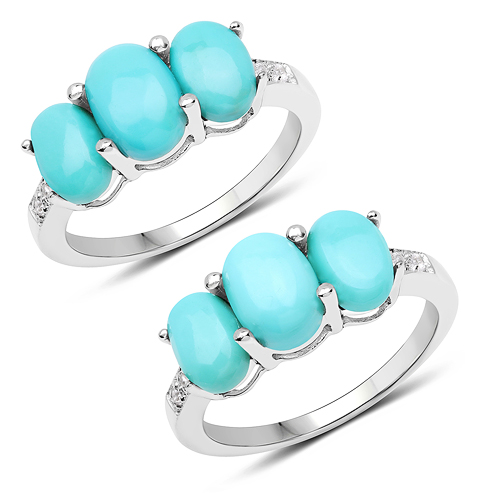 Rings-2.97 Carat Genuine Turquoise and White Zircon .925 Sterling Silver Ring
