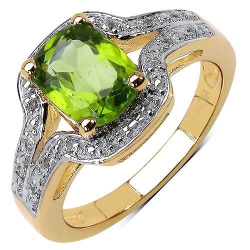 Peridot-14K Yellow Gold Plated 1.38 Carat Genuine Peridot & White Topaz .925 Streling Silver Ring