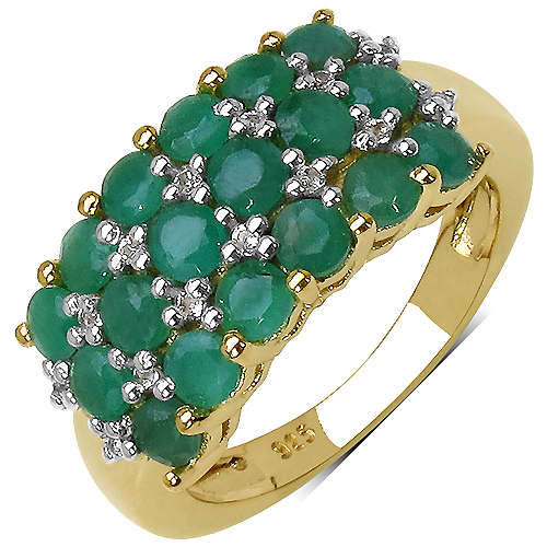 Emerald-14K Yellow Gold Plated 1.87 Carat Genuine Emerald & White Topaz .925 Streling Silver Ring