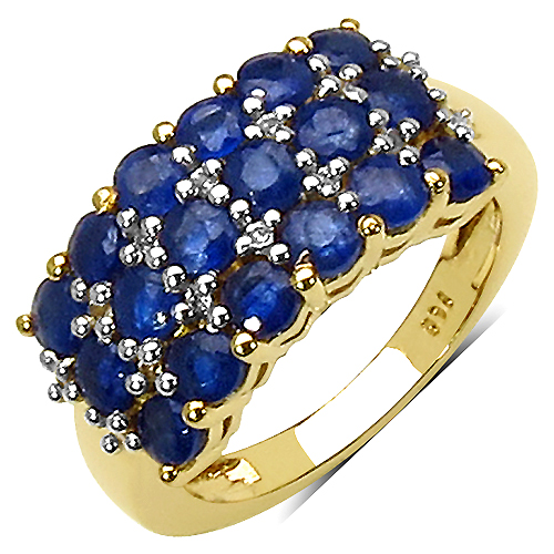Sapphire-14K Yellow Gold Plated 2.26 Carat Genuine Sapphire & White Topaz .925 Streling Silver Ring