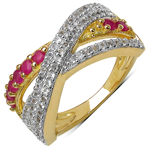 Ruby-14K Yellow Gold Plated 0.70 Carat Genuine Ruby & White Topaz .925 Streling Silver Ring