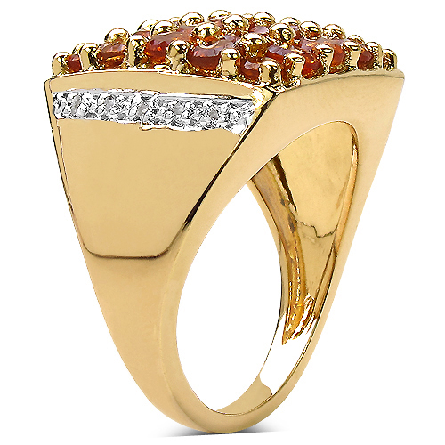 14K Yellow Gold Plated 2.43 Carat Genuine Citrine & White Topaz .925 Sterling Silver Ring