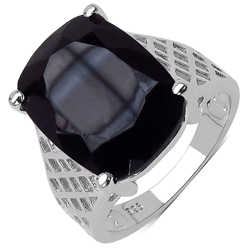 Rings-8.05 Carat Genuine Black Onyx .925 Sterling Silver Ring