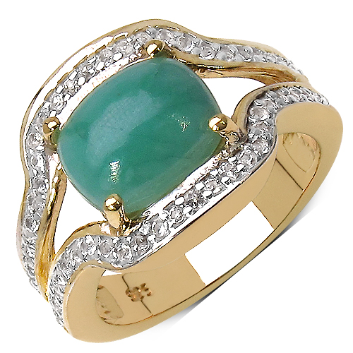 Emerald-14K Yellow Gold Plated 2.97 Carat Genuine Emerald & White Topaz .925 Streling Silver Ring