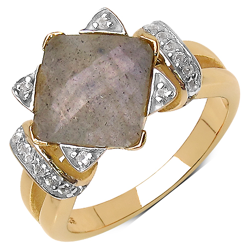 Rings-14K Yellow Gold Plated 3.32 Carat Genuine Labradorite & White Topaz .925 Streling Silver Ring