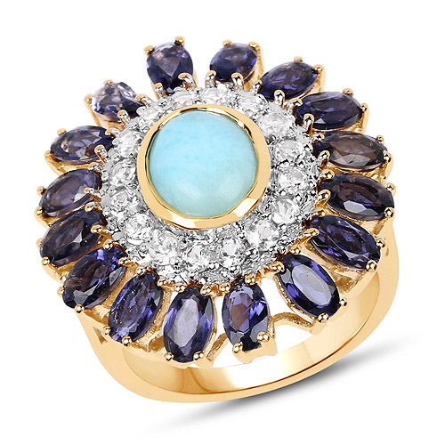 Rings-14K Yellow Gold Plated 6.48 Carat Genuine Larimar, Iolite and White Topaz .925 Sterling Silver Ring