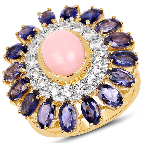 Opal-14K Yellow Gold Plated 5.44 Carat Genuine Pink Opal, Iolite And White Topaz .925 Sterling Silver Ring
