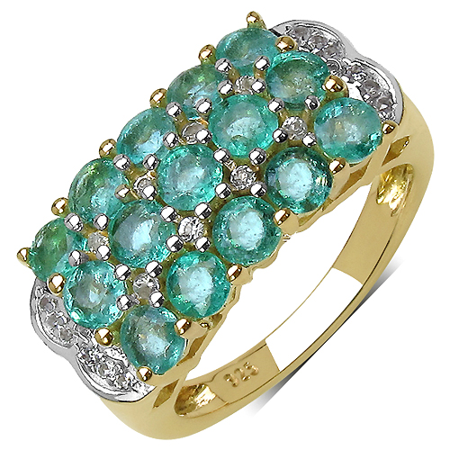 Emerald-14K Yellow Gold Plated 2.44 Carat Genuine Emerald & White Topaz .925 Streling Silver Ring