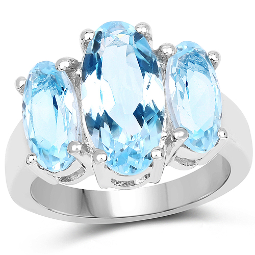 Rings-7.77 Carat Genuine Blue Topaz .925 Sterling Silver Ring