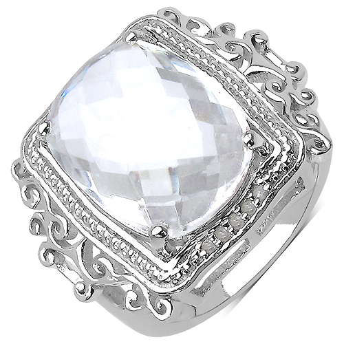 Rings-8.22 Carat Genuine Crystal Quartz .925 Sterling Silver Ring
