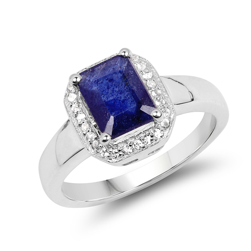 Sapphire-2.63 Carat Genuine Glass Filled Sapphire & White Topaz .925 Sterling Silver Ring