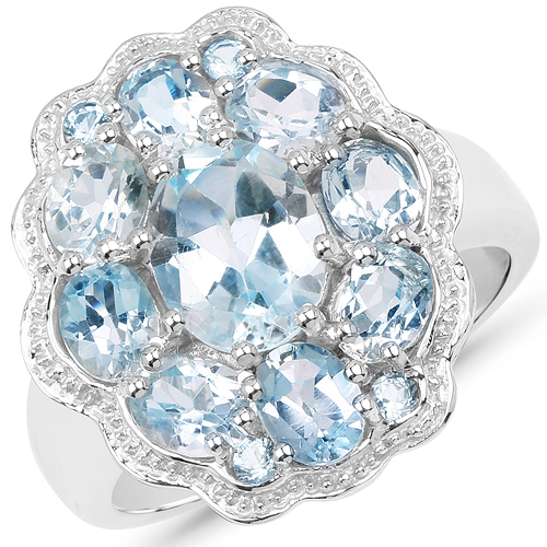 Rings-6.64 Carat Genuine Blue Topaz .925 Sterling Silver Ring