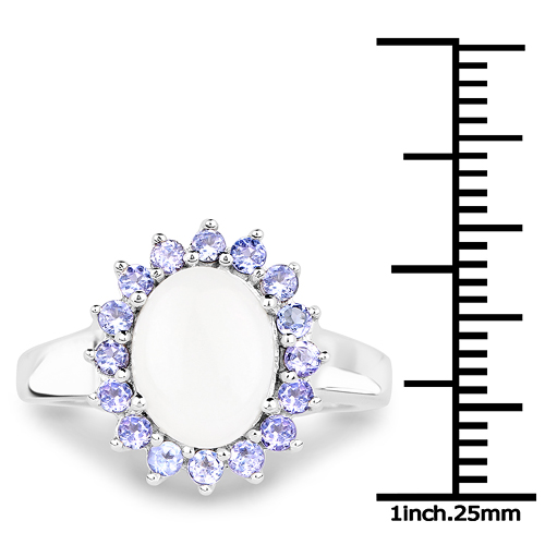 2.26 Carat Genuine Opal and Tanzanite .925 Sterling Silver Ring