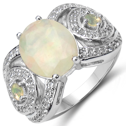 Opal-2.43 Carat Genuine Opal & White Topaz .925 Sterling Silver Ring