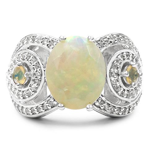 2.43 Carat Genuine Opal & White Topaz .925 Sterling Silver Ring