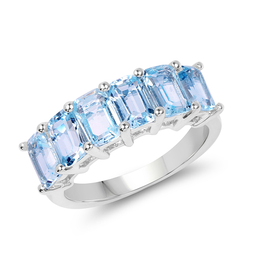 Rings-4.08 Carat Genuine Blue Topaz .925 Sterling Silver Ring