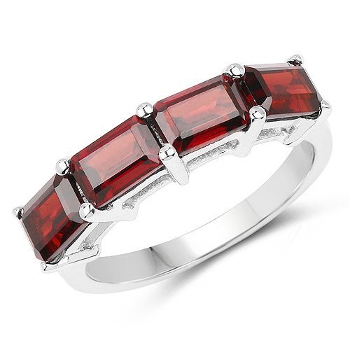 Garnet-3.20 Carat Genuine Garnet .925 Sterling Silver Ring