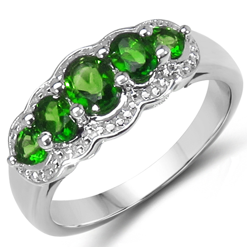 Rings-0.98 Carat Genuine Chrome Diopside .925 Sterling Silver Ring