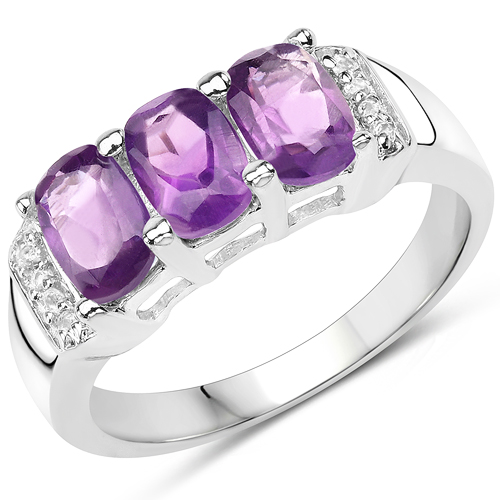 1.54 Carat Genuine Amethyst & White Topaz .925 Sterling Silver Ring