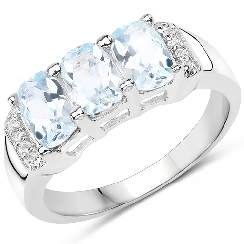 1.84 Carat Genuine Blue Topaz & White Topaz .925 Sterling Silver Ring