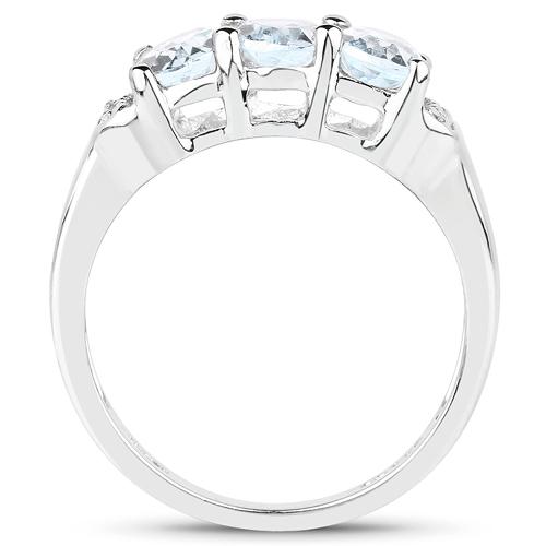 1.84 Carat Genuine Blue Topaz & White Topaz .925 Sterling Silver Ring