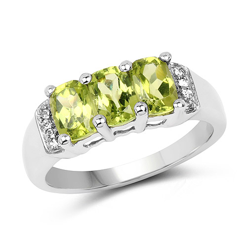 Peridot-1.69 Carat Genuine Peridot and White Topaz .925 Sterling Silver Ring