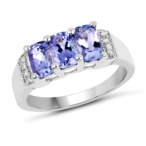 Tanzanite-1.63 Carat Genuine Tanzanite & White Diamond .925 Sterling Silver Ring