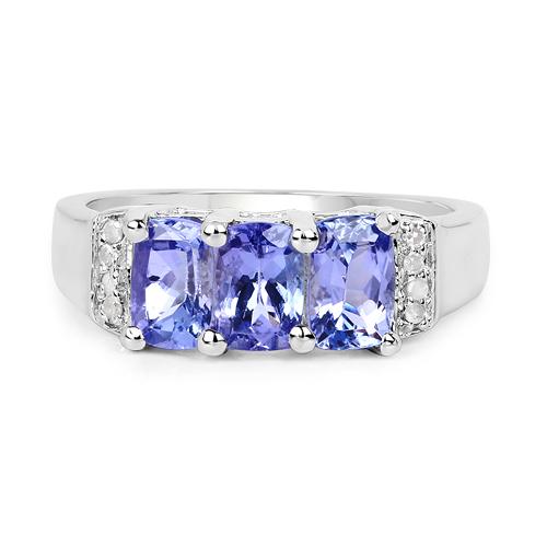1.63 Carat Genuine Tanzanite & White Diamond .925 Sterling Silver Ring