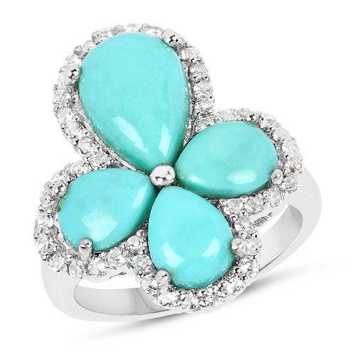 Rings-6.31 Carat Genuine Turquoise & White Topaz .925 Sterling Silver Ring