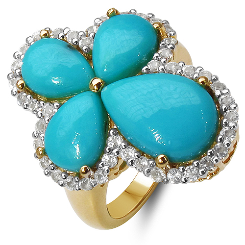 Rings-14K Yellow Gold Plated 6.31 Carat Genuine Turquoise & White Topaz .925 Sterling Silver Ring