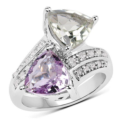 Amethyst-5.00 Carat Genuine Pink Amethyst, Green Amethyst and White Topaz .925 Sterling Silver Ring