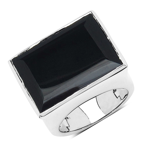 Rings-9.86 Carat Genuine Black Onyx .925 Sterling Silver Ring