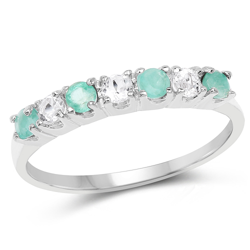 Emerald-0.46 Carat Genuine Emerald and White Topaz .925 Sterling Silver Ring
