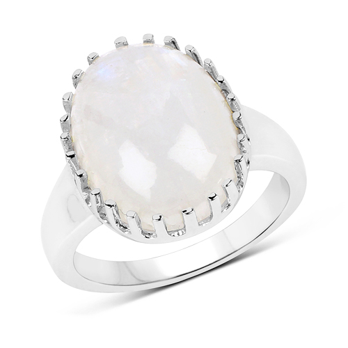 Rings-8.45 Carat Genuine White Rainbow Moonstone .925 Sterling Silver Ring