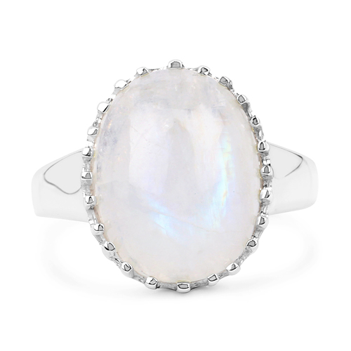 8.45 Carat Genuine White Rainbow Moonstone .925 Sterling Silver Ring