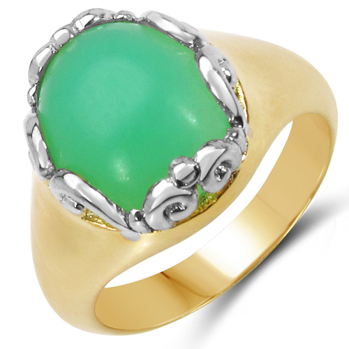 Rings-14K Yellow Gold Plated 5.55 Carat Genuine Crysopharse .925 Sterling Silver Ring