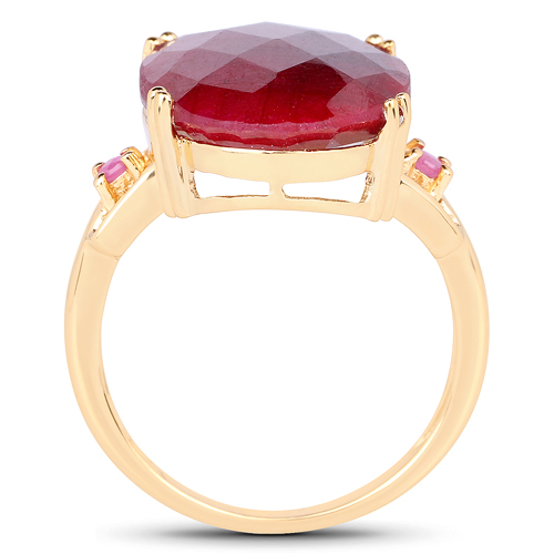 14K Yellow Gold Plated 15.35 Carat Dyed Ruby And Ruby .925 Sterling Silver Ring