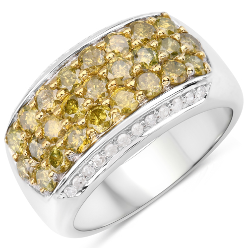 Diamond-1.89 Carat Genuine Yellow Diamond and White Diamond .925 Sterling Silver Ring