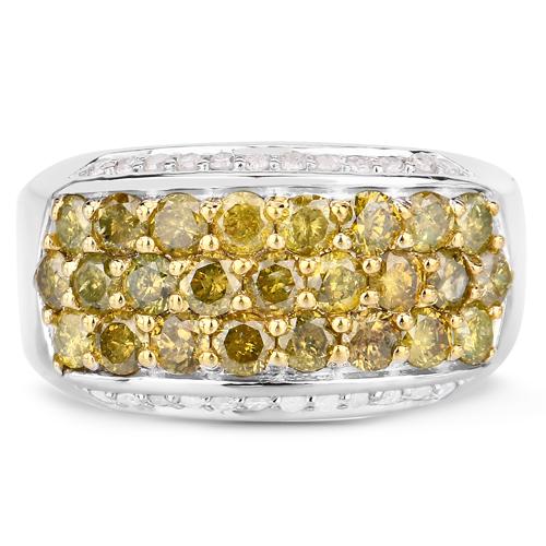 1.89 Carat Genuine Yellow Diamond and White Diamond .925 Sterling Silver Ring