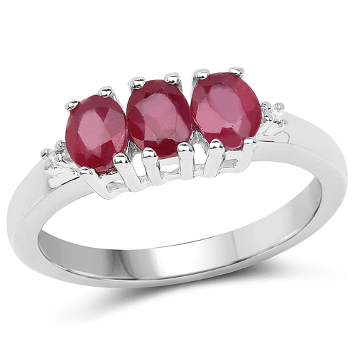 Ruby-1.15 Carat Genuine Glass Filled Ruby & White Diamond .925 Sterling Silver Ring