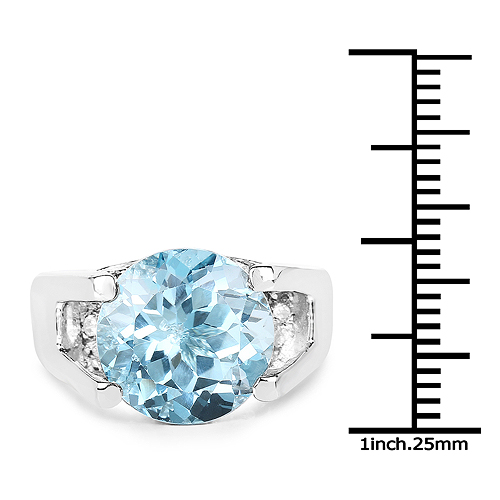 7.21 Carat Genuine Blue Topaz and White Cubic Zirconia .925 Sterling Silver Ring
