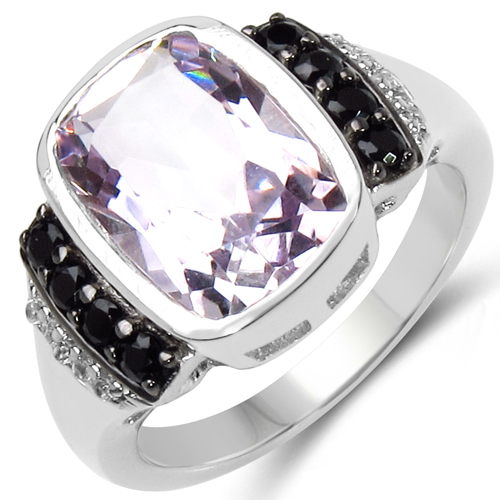 Amethyst-3.40 Carat Genuine Pink Amethyst, Black Spinel & White Topaz .925 Sterling Silver Ring