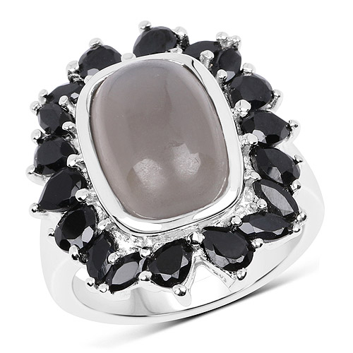 Rings-8.37 Carat Genuine Grey Moonstone and Black Spinel .925 Sterling Silver Ring