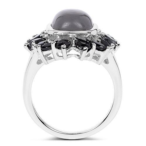 8.37 Carat Genuine Grey Moonstone and Black Spinel .925 Sterling Silver Ring