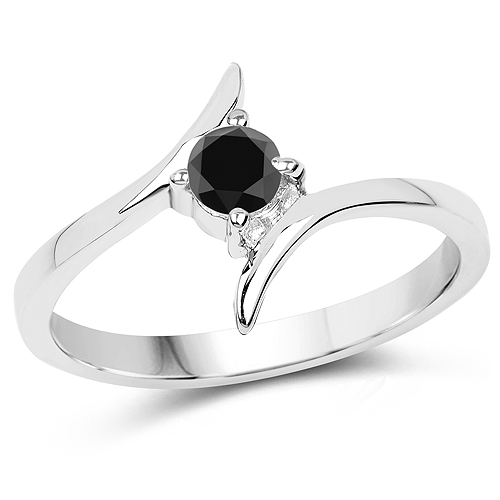 Diamond-0.25 Carat Genuine Black Diamond .925 Sterling Silver Ring