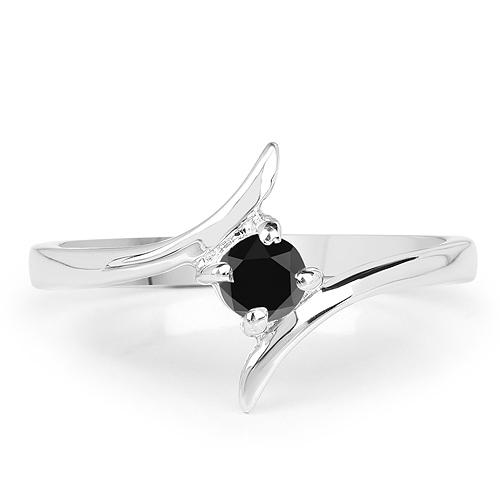 0.25 Carat Genuine Black Diamond .925 Sterling Silver Ring