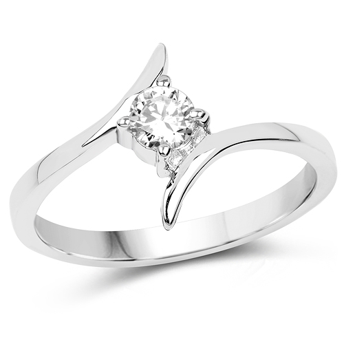 Rings-0.50 Carat Genuine White Cubic Zirconia .925 Sterling Silver Ring