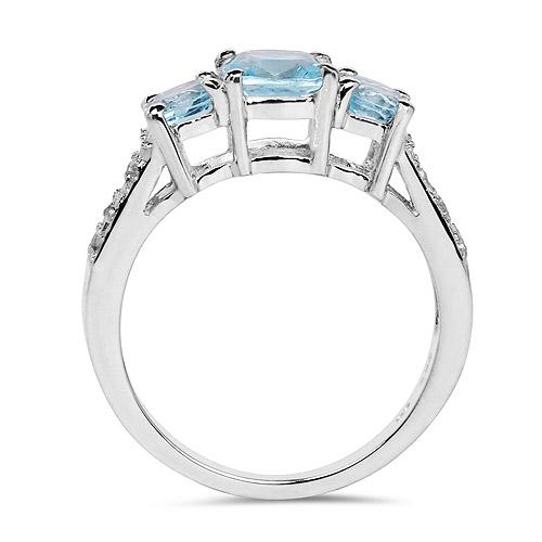 1.98 Carat Genuine Blue Topaz and White Topaz .925 Sterling Silver Ring