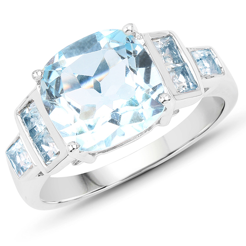 Rings-5.17 Carat Genuine Blue Topaz .925 Sterling Silver Ring