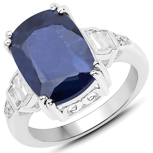 Sapphire-8.43 Carat Dyed Sapphire and White Topaz .925 Sterling Silver Ring